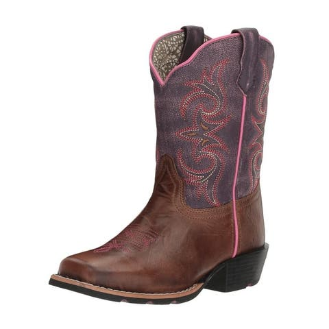 "Dan Post Western Boots Girls Majesty 8"" Square Brown Purple - Brown Purple"