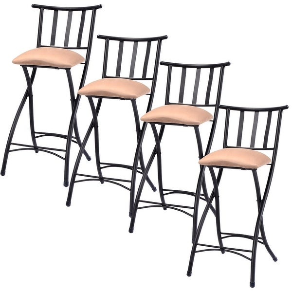 shop costway set of 4 folding bar stools bistro pub chair free shipping today overstock. Black Bedroom Furniture Sets. Home Design Ideas