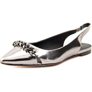 Coach Rodney Women Pointed Toe Leather Silver Slingback Heel