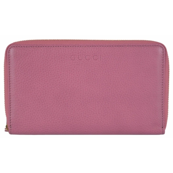 83f4c13cd336 Shop Gucci 321117 XL Pink Textured Leather Zip Around Travel Wallet Clutch  - Free Shipping Today - Overstock - 12149355
