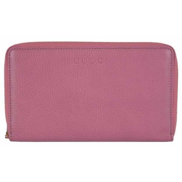 Gucci 321117 XL Pink Textured Leather Zip Around Travel Wallet Clutch