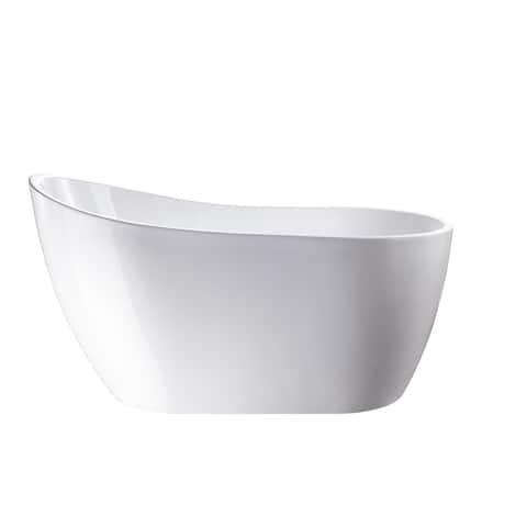 "Vanity Art 54"" X 28"" White Acrylic Freestanding Bathtub"