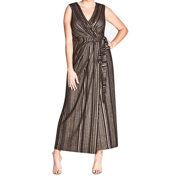 e687b43883579 Shop City Chic Black Women's Size 22 Plus Cleo Striped Wrap Dress ...