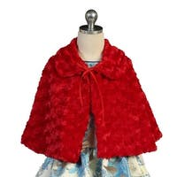 Angels Garment Girls Red Faux Fur Wrap Bow Closure Collar Cape 7-10