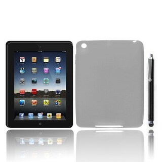 Unique Bargains Gray Soft Silicone Skin Case Cover Shell Protector + Stylus Pen for iPad Mini