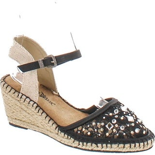 Nature Breeze Nomad-01 Women Lace Jewel Round Toe Espadrille Wedge Sandal - Black