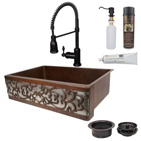 Premier Copper Products KSP4_KASDB33229S-NB Kitchen Sink, Spring Faucet and Accessories Package