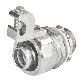 1 Pc, 4 in. Malleable Iron Liquid Tight Straight Connector with Aluminum Grounding Lug
