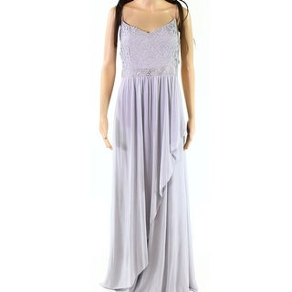 Adrianna Papell Silver Womens Size 16 Chiffon Embellished Gown