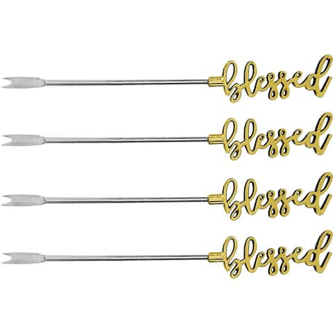 Palais Essentials Stainless Steel Cocktail Picks - Reusable Wedding Martini Picks - Set of 4-5.25 Inches Long