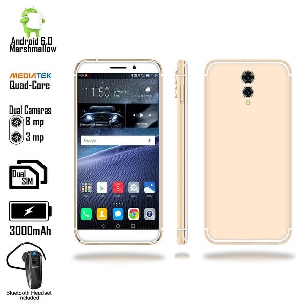 4G LTE Unlocked SmartPhone by Indigi (QuadCore @ 1.2GHz + Android 6 + 8mp CAM + 2SIM + Fingerprint) + Bluetooth Headset