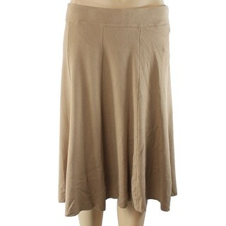 Alfani NEW Brown Camel Women's Size XL A-Line Fit & Flare Knit Skirt
