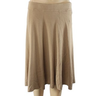 Alfani NEW Brown Camel Women Size Large L A-Line Knit Fit & Flare Skirt