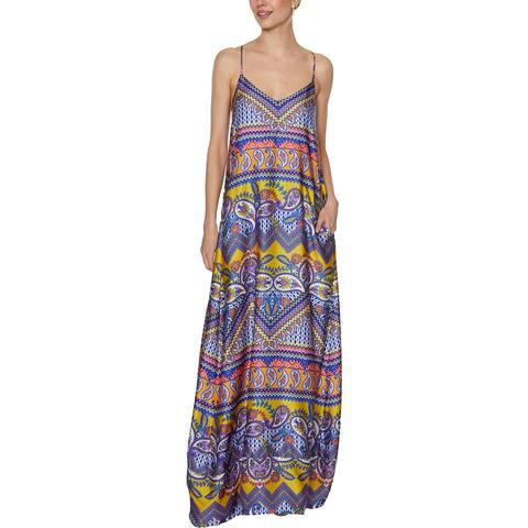 Laundry by Shelli Segal Women's Chiffon Printed Sleeveless V-Neck Maxi Dress - Multi