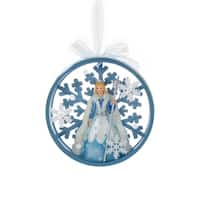 "4.5"" Ice Palace Blue Snowflake Princess Disc Christmas Ornament"