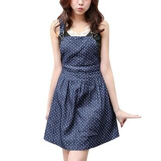 Women Dots Pattern One Pocket Front Denim Overall Dress Dark Blue M - Dark Blue