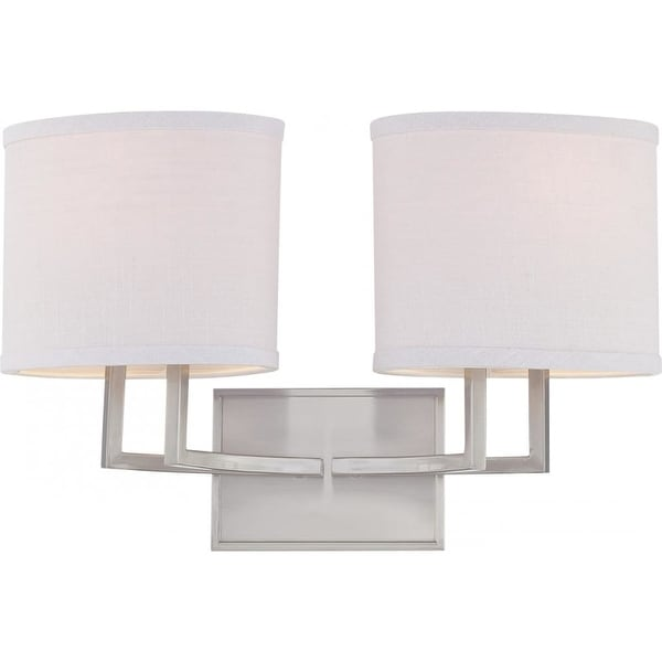 Nuvo Lighting 60/4752 Gemini Two Light Bathroom Fixture with Slate Gray Fabric Shades - Brushed nickel