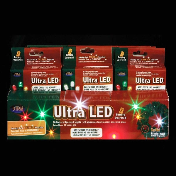 24 LED Battery Operated Micro Christmas Light Sets - Multi-Colored & White Bulbs - multi