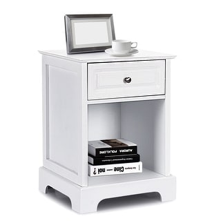 Costway Night Stand Sofa Side Bedside End Accent Table Home Storage