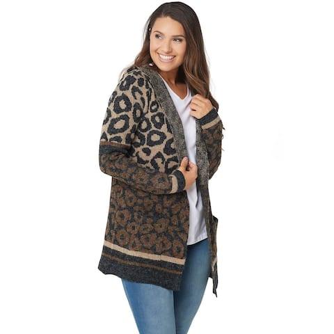 Denim & Co. Womens Animal Print Hoodie Long-Sleeve Cardigan XX-Small XXS A367954