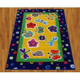 "California Kids Garden Fantasy Children Rug Blue Green Yellow Base Color Kids Rug Children's (31""X47"" Inches)"