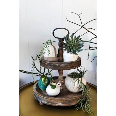 Distressed Wood 2-Tier Tray with Metal Handle