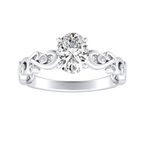 Auriya 1ctw Vintage Oval-cut Solitaire Diamond Engagement Ring Platinum