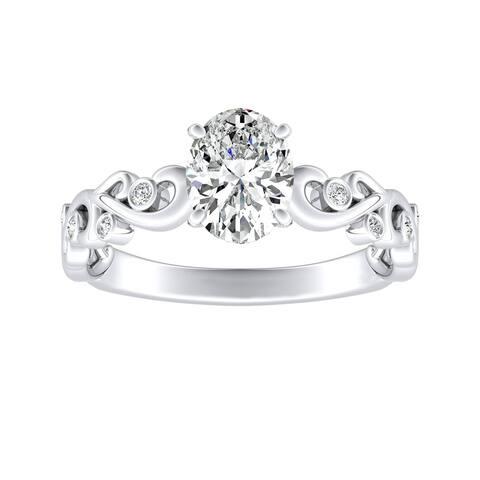 Auriya 3/4ctw Vintage Oval Solitaire Diamond Engagement Ring Platinum