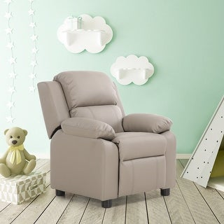 Costway Gray Deluxe Padded Kids Sofa Armchair Recliner Headrest Children w Storage Arms