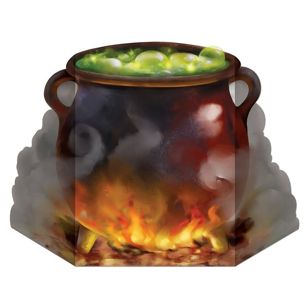 """Pack of 6 Bubbling Witch's Cauldron Stand-Up Halloween Decoration 36.5"""" - N/A"""