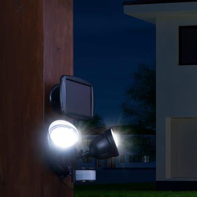 "Glitzhome 8.25""L Outdoor Solar Powered Dual-Head SMD LED Motion Senser Security Flood Light"