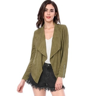 Women Zip Up Cuffs Draped Front Faux Suede Jacket