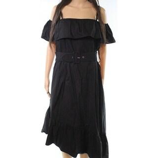 City Chic Womens Plus Ruffle Belted Sheath Dress