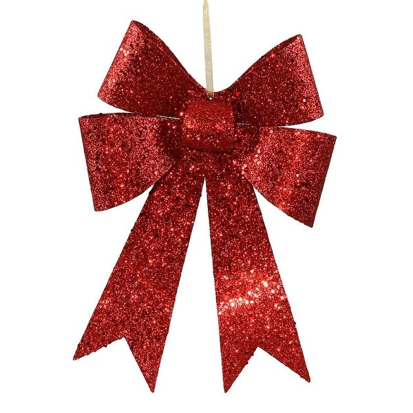 """12"""" Red Sequin and Glitter Bow Christmas Ornament"""
