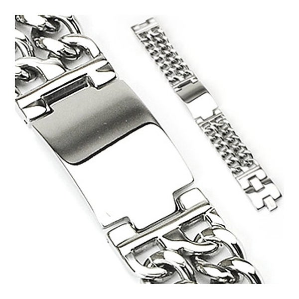 Stainless Steel Bracelet with Engraving Plate & Double Chains (24 mm) - 8.75 in