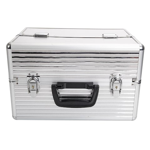 Handy Stylish 3 Stripes Aluminum Makeup Case Storage Box with Keys