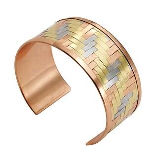 "Women's Woven Metals Cuff Bracelet - 1"" Wide - Metallic"
