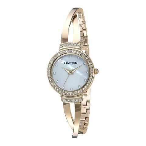 Armitron Women's 26mm Swarovski Crystal Gold-Tone Bangle Watch