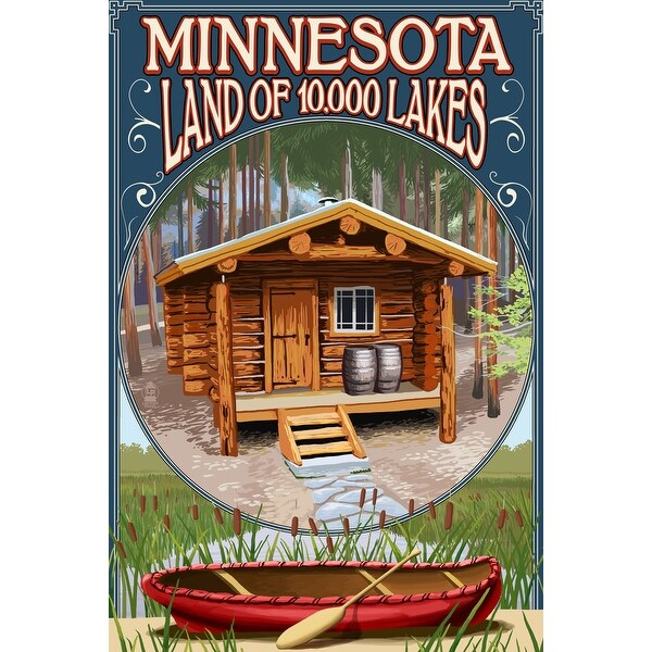 MN - Cabin and Lake - LP Artwork (100% Cotton Towel Absorbent)