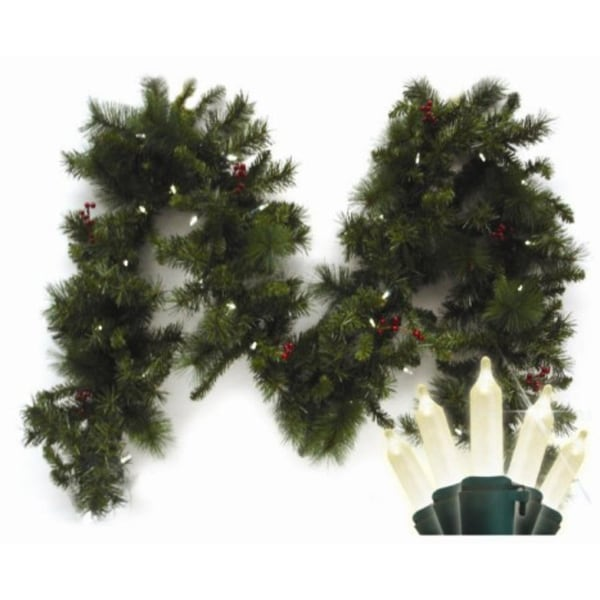 9 Pre Lit Led Battery Operated Anchorage Fir Christmas Garland Warm White Lights Green N A