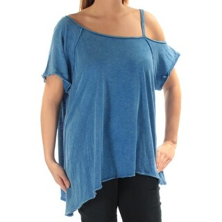 Womens Blue Short Sleeve V Neck Casual Sweater Size L