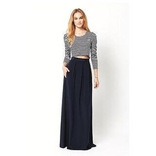 Ariana Rockefeller Amelia Pleated Silk Maxi Skirt Navy