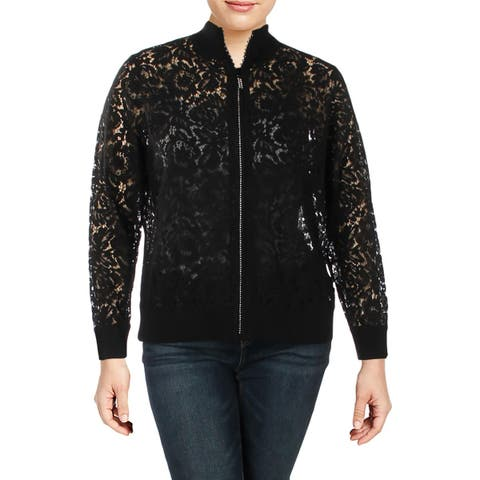 Belldini Womens Plus Bomber Jacket Lace Fall - 2X
