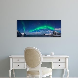Easy Art Prints Panoramic Images's 'Aurora borealis above Flaget bay, Lofoten, Nordland, Norway' Premium Canvas Art