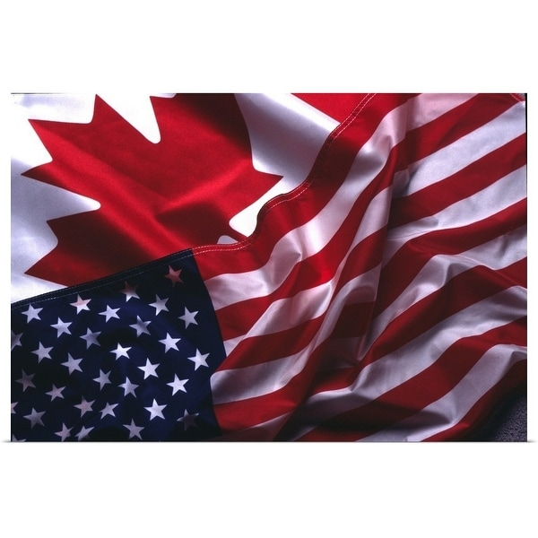 """""""An American and Canadian flag"""" Poster Print"""