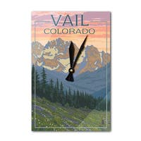 Vail, CO - Bears & Spring Flowers - LP Artwork (Acrylic Wall Clock) - acrylic wall clock