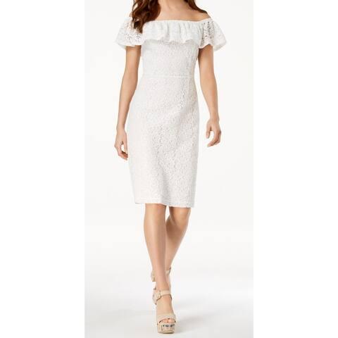 XOXO White Womens Size Small S Ruffle Lace Off Shoulder Sheath Dress