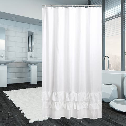 Ruffle Shower Curtain Polyester Fabric Mildew Resistant