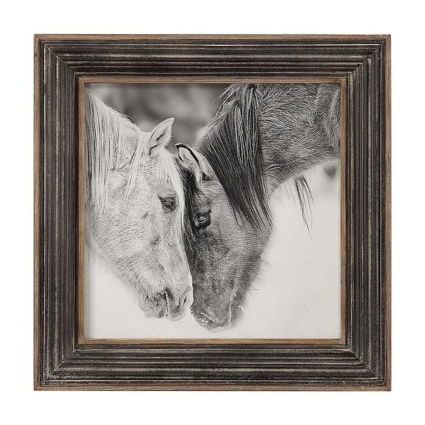 """32"""" x 32"""" Black and White Custom Horses Print Decorative Wall Art - N/A"""