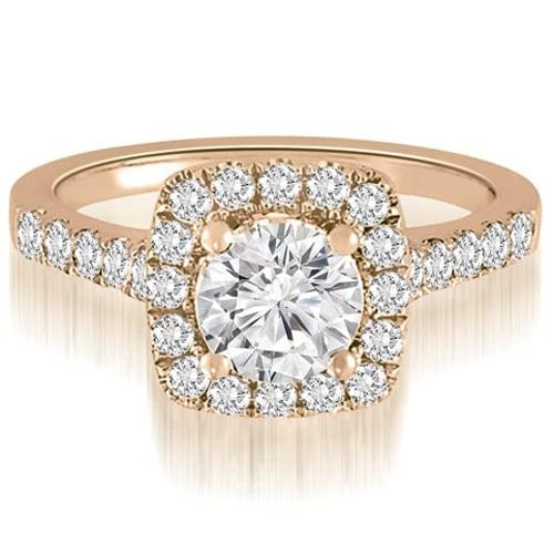1.52 cttw. 14K Rose Gold Halo Round Cut Diamond Engagement Ring